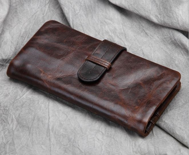 กระเป๋าสตางค์บุรุษ หนังแท้ ทรงยาว สีน้ำตาล