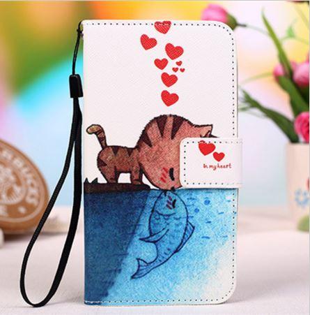 เคส lenovo k4 note (A7010) เคสหนัง pu leather เคสพับลายลูกแมวจูบปลา