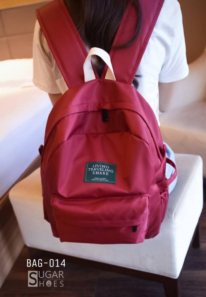 พร้อมส่ง กระเป๋าเป้ผู้หญิงผ้าไนล่อนสีสดใส-BAG-014 [สีแดง]