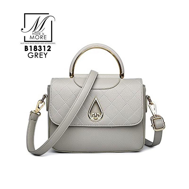 กระเป๋าสะพายกระเป๋าถือ แฟชั่นนำเข้างานเรียบหรู B18312-GRY [สีเทา]