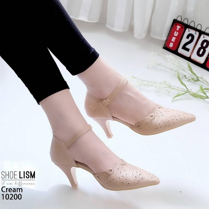 รองเท้าส้นสูงสีครีม ฉลุลาย รัดข้อ LB-10200-ครีม