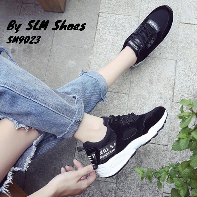 พร้อมส่ง รองเท้าผ้าใบผู้หญิง SM9023-BLK [สีดำ]