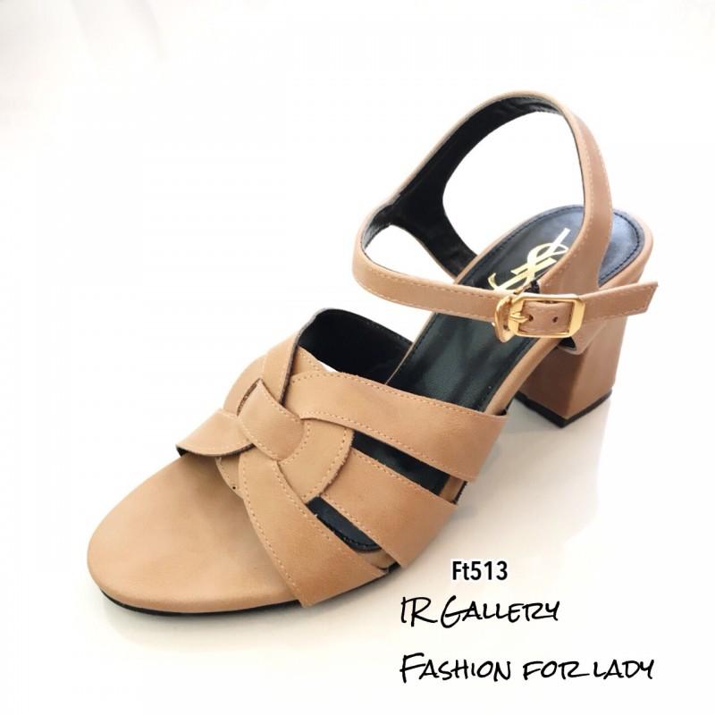 รองเท้าส้นตันรัดข้อสีแทน สไตล์ FT513-แทน