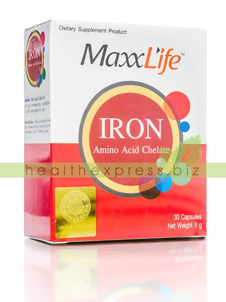 MaxxLife Iron Amino Acid Chelate แม็กซ์ไลฟ์ ไอรอน อะมิโน แอซิด คีเลต 30 แคปซูล