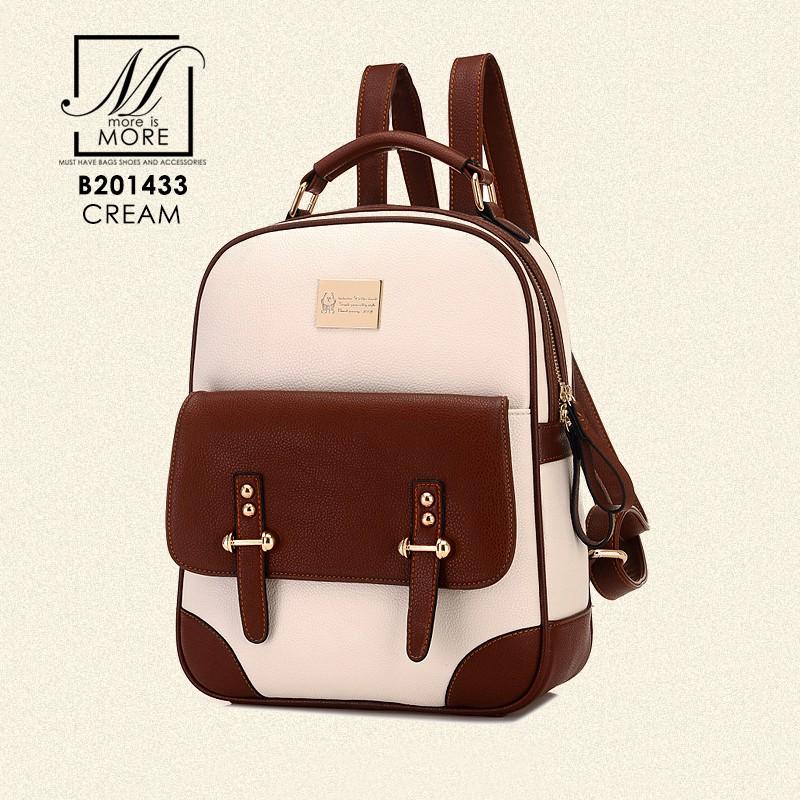 กระเป๋าสะพายเป้กระเป๋าถือ เป้แฟชั่นนำเข้าดีไซน์เก๋ส์ แบรนด์ BEIBAOBAO แท้ B201433-CRM (สีครีม)