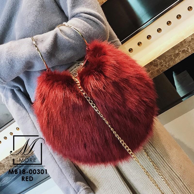 กระเป๋าสะพายกระเป๋าถือกระเป๋าขน แฟชั่นนำเข้าทรงกลมแบบขน fur สุดนุ่ม MB18-00301-RED (สีแดง)