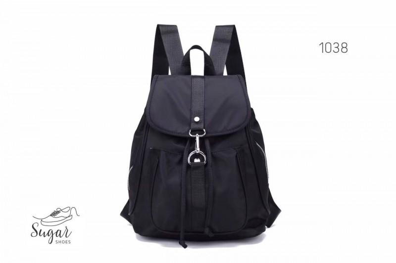 พร้อมส่ง กระเป๋าเป้ผู้หญิงผ้าไนล่อน-1038 [สีดำ]