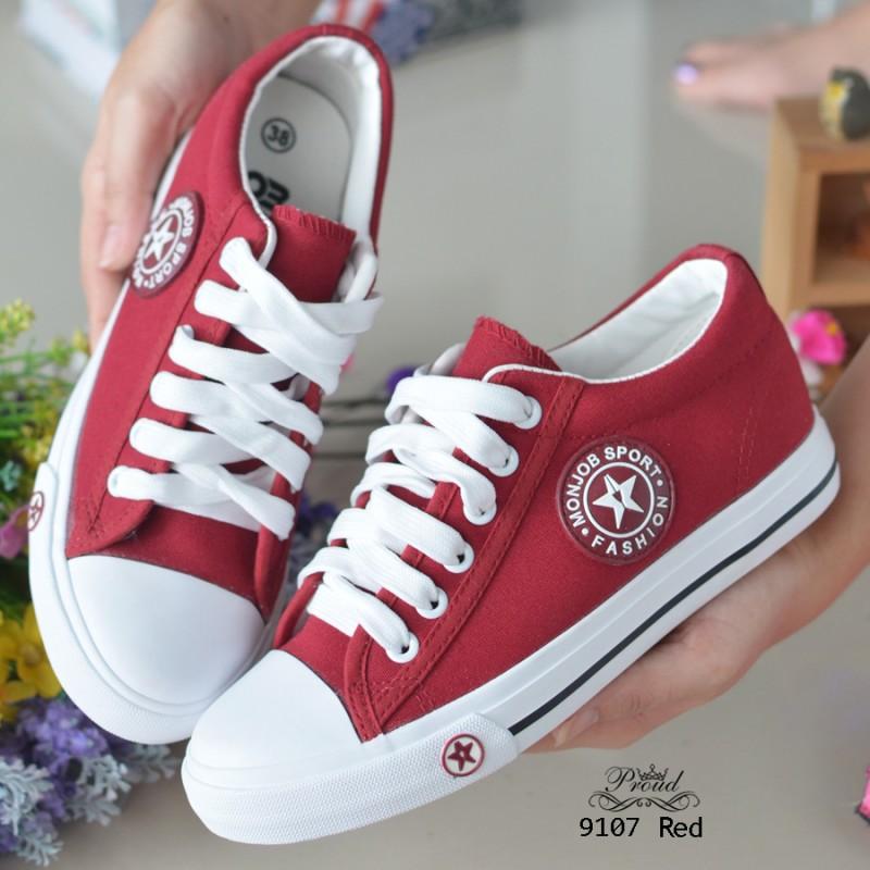 รองเท้าผ้าใบเสริมส้นสุดชิคสีแดง 9107-RED