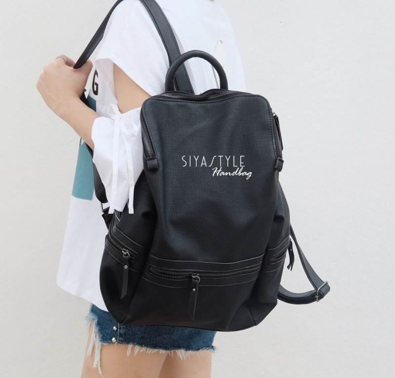 กระเป๋าเป้ผู้หญิง กระเป๋าสะพายหลังแฟชั่น เป้ BIG Bag [สีดำ]