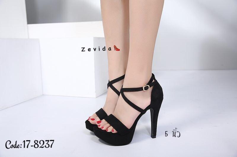 พร้อมส่ง รองเท้าส้นสูงรัดข้อ สไตล์เกาหลี 17-8237D5-BLK [สีดำ]