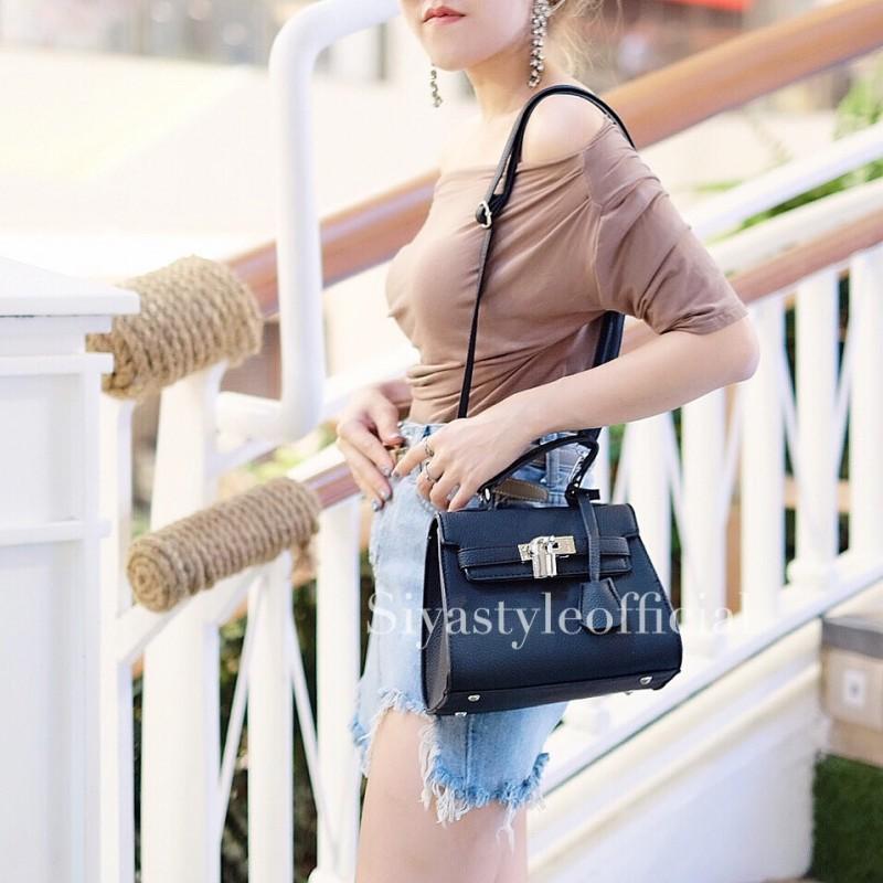 กระเป๋าสะพายแฟชั่น กระเป๋าสะพายข้างผู้หญิง Mini Kelly Pu [สีดำ]