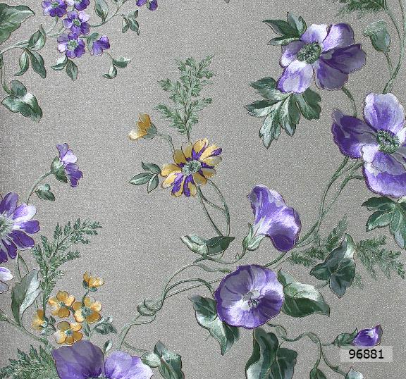 วอลเปเปอร์ลายดอกไม้โมเดิร์นสีม่วง