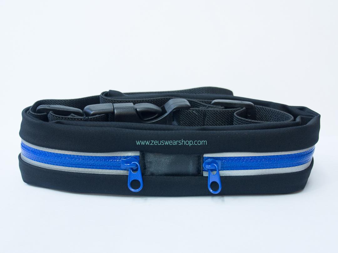 กระเป๋าคาดเอววิ่ง 2 ซิป สีน้ำเงิน ผ้ากันน้ำ กันเหงื่อ กันฝน