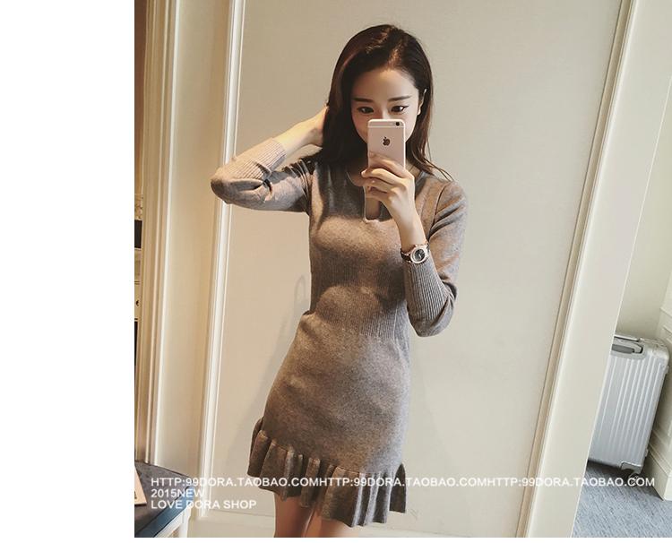 ชุดเดรสแฟชั่นเกาหลีสีเทารัดรูปเซ็กซี่ราคาถูก