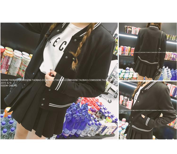 เสื้้อกันหนาวแฟชั่นเกาหลีสีดำแถบสีขาว