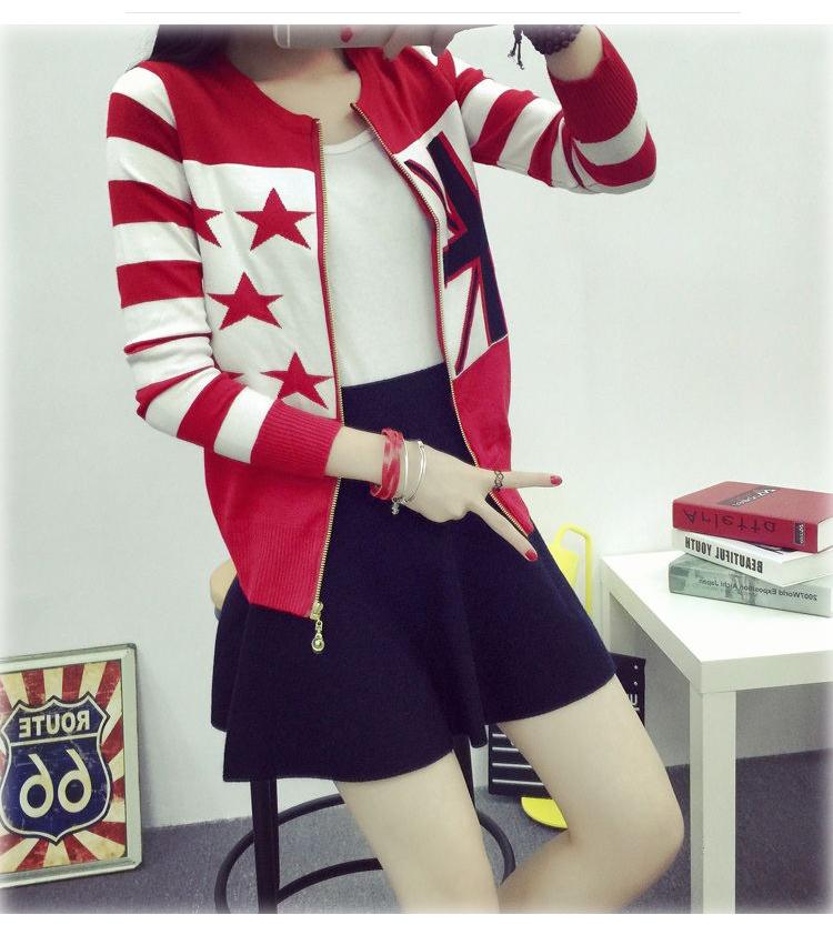 เสื้อกันหนาวแฟชั่นเกาหลีราคาถูกสีแดงลายสก็อตสุดฮอตราคาถูก