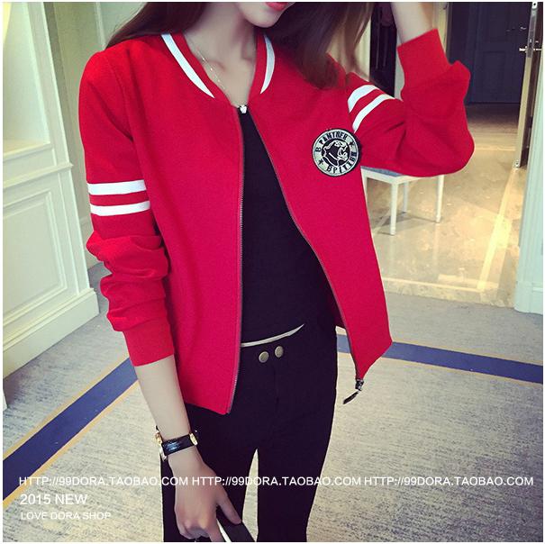 เสื้อกันหนาวแฟชั่นเกาหลีสีแดงแขนยาวแถบสีขาว