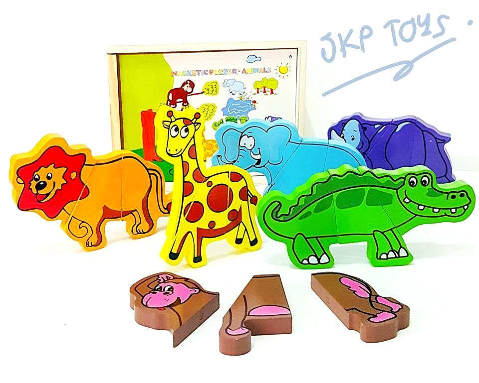 ของเล่นเสริมพัฒนาการ ของเล่นไม้จิ๊กซอเเม่เหล็กสัตว์ป่า 6 ชนิด 18 ชิ้นพร้อมกล่องไม้