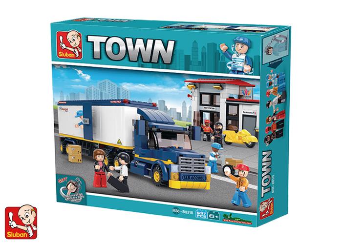 M38-B0318 ของเล่นตัวต่อ Truck Super Power รถบรรทุกขนส่งสินค้าและสถานีรับสินค้า