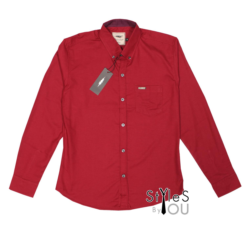 เสื้อเชิ้ต แฟชั่น สีพื้น สีแดง Pastel Shirt แขนสั้นและแขนยาว