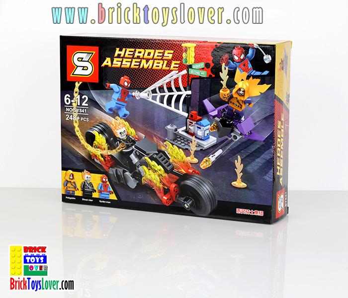 SY841 Heroes Assemble สไปเดอร์แมนและ Pod Bike ของโกสท์ไรเดอร์