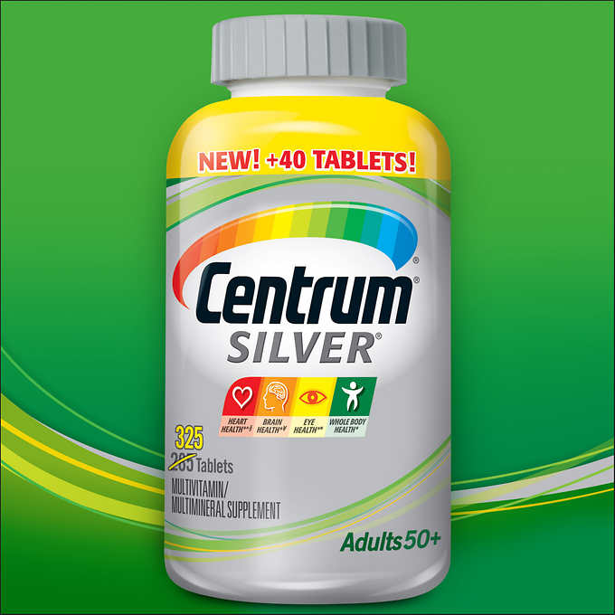 Centrum Silver Multivitamin / Multimineral Supplement From A to Zinc 325 Tablets เพิ่มปรืมาณ 40 เม็ดสุดคุ้มค่ะ
