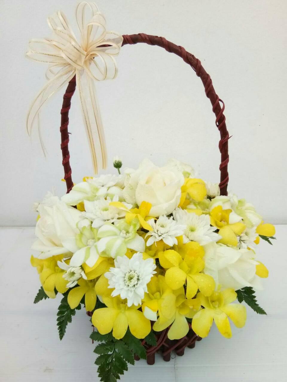 กระเช้าดอกไม้ สีเหลือง รหัส 2056