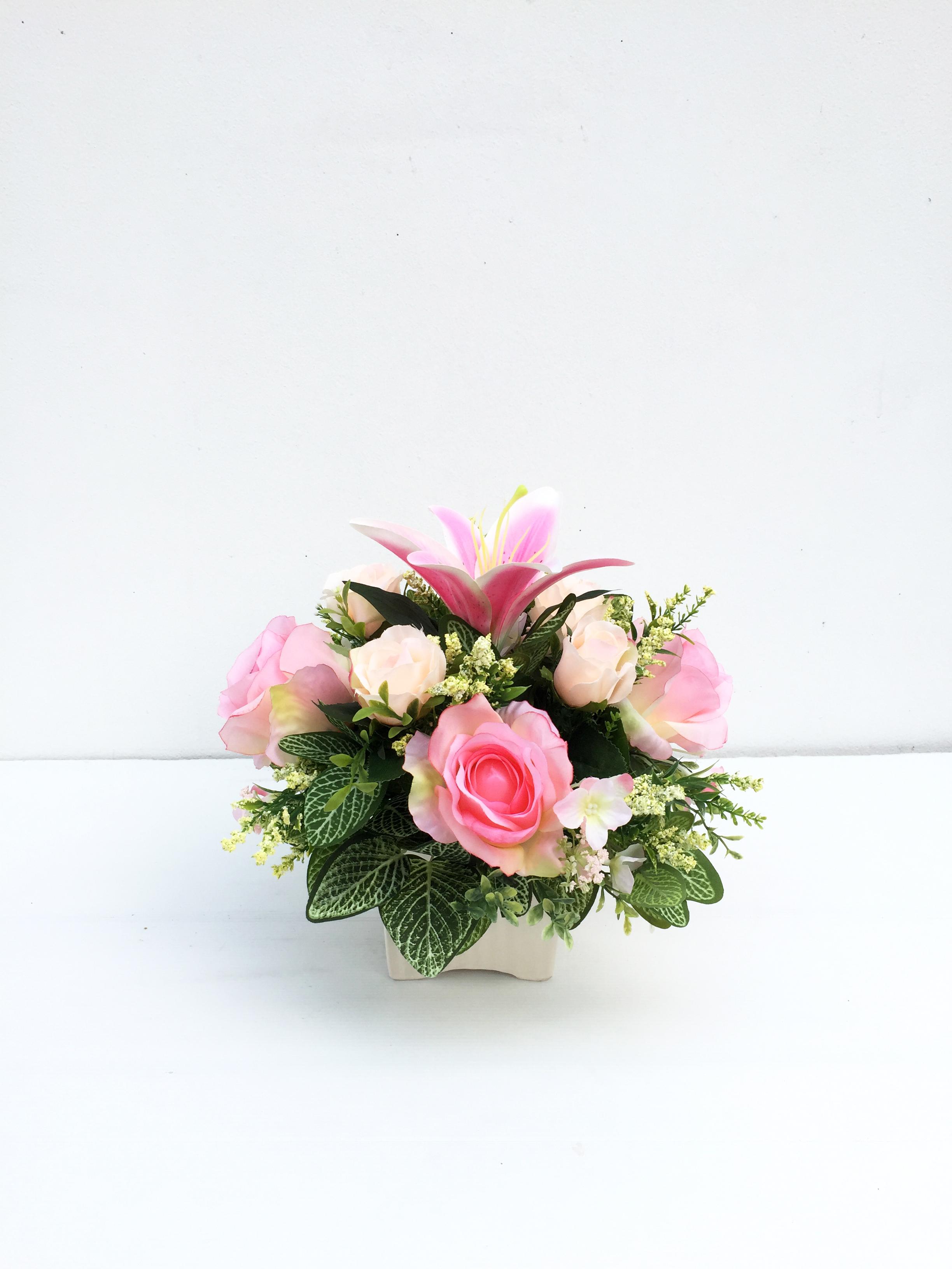 แจกันดอกไม้ประดิษฐ์โทนชมพู รหัส 3090