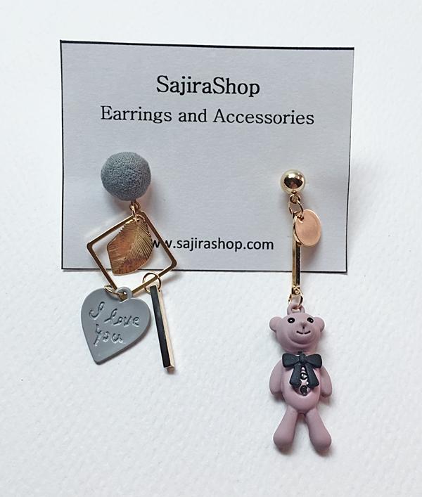 ต่างหูแฟชั่น มีตุ๊กตาหมีสีม่วงพาสเทลห้อย ต่างหูน่ารัก ยาว 6.5 cm. ต่างหูแฟชั่นสีทอง น่ารักมากๆ