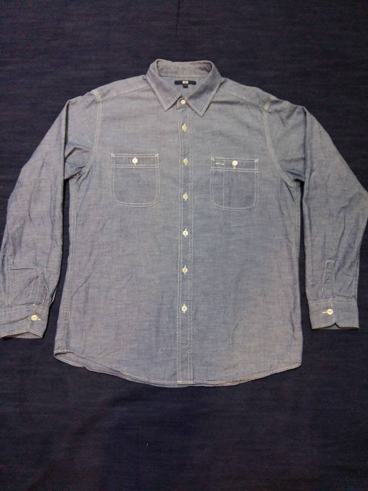 Shirt. Chambray UNIQLO ไซร์. L.