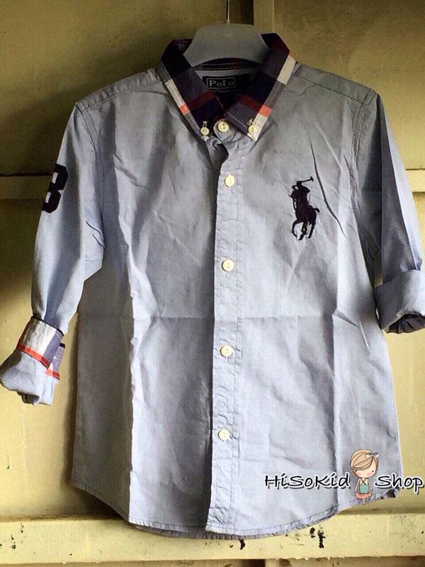 1018 Polo Ralph Shirt เสื้อเชิ้ตสีฟ้า ปักโลโก้ม้าสีกรมท่า ขนาด 8 ปี