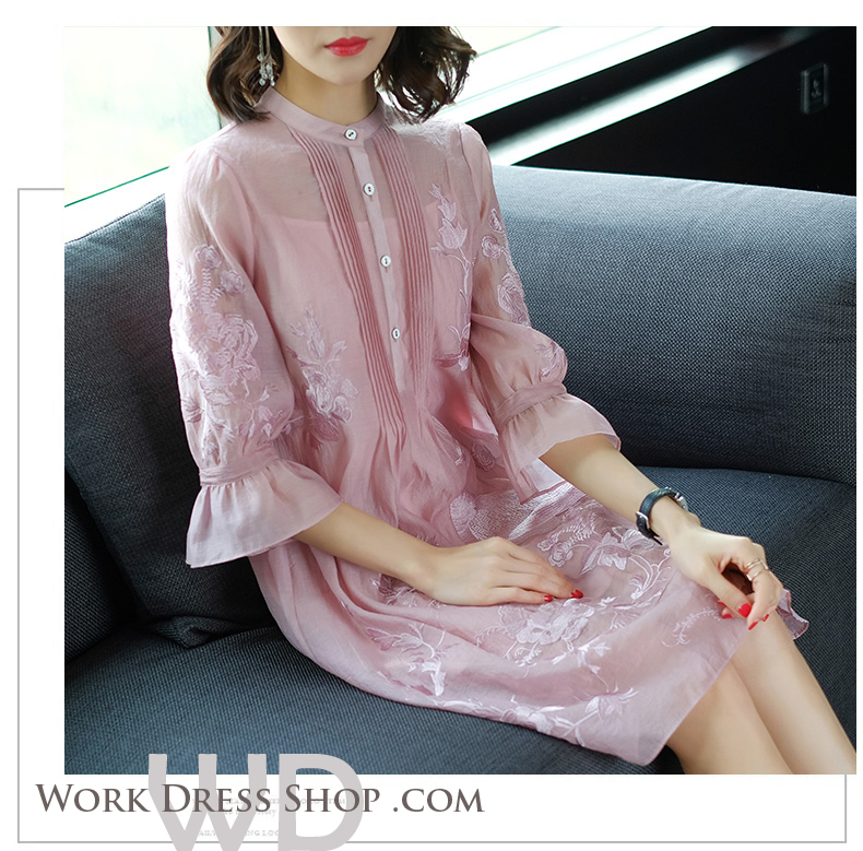 Pre-order ชุดทำงาน สีชมพู กระดุมเรียง ทรงปล่อย ปักลายในเนื้อผ้าสวยหวานสุดๆ