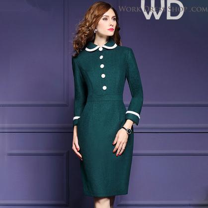 Preorder ชุดทำงาน สีเขียว คอบัวแขนยาว แต่งกระดุมหน้าเก๋ไก๋ ทรงสวย เนื้อผ้า Wool