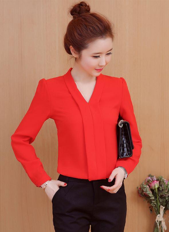 Preorder เสื้อทำงาน สีแดง เสื้อคอวี ไหล่ตั้งเป็นทรงสวย