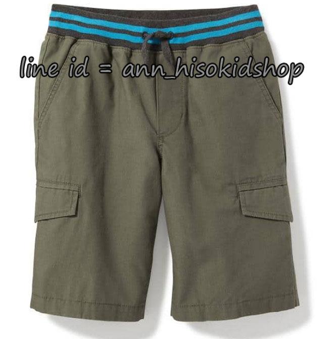 1839 Rib-Knit Waist Canvas Cargo Shorts for Boys - Gator Green ขนาด 10-12,14-16 ปี
