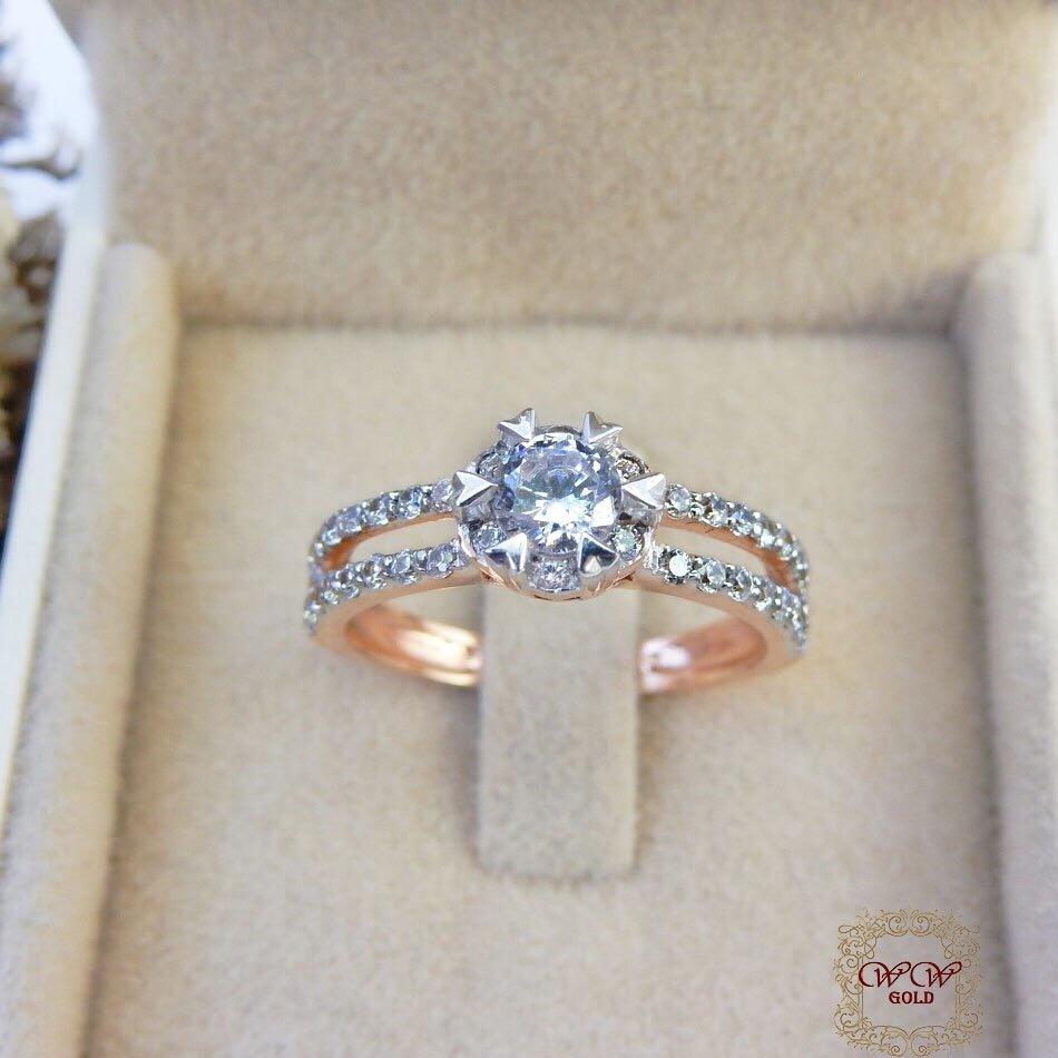 แหวนดีไซน์เพชรประกบ เรียงสวยระยิบ (Hat 1)