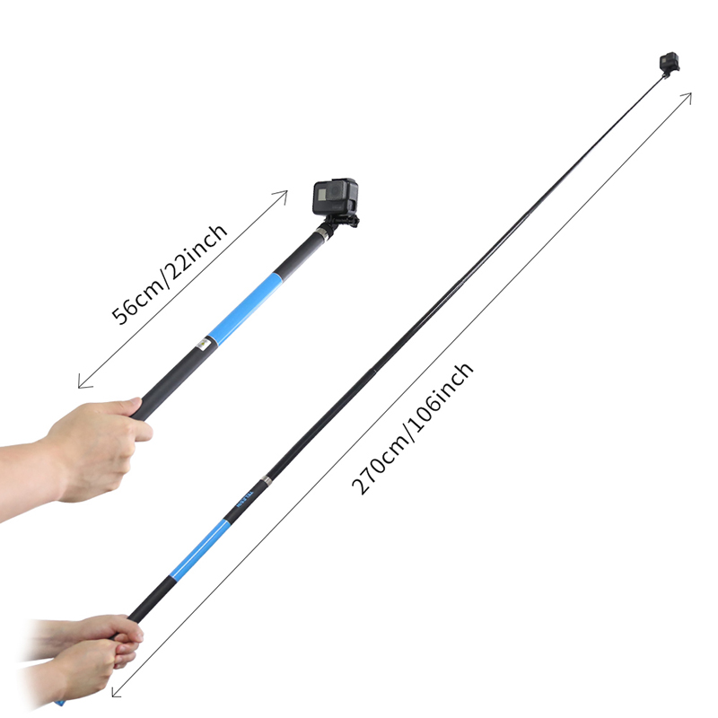 TELESIN 2.7m Adjustable Selfie Stick - BLACK AND BLUE