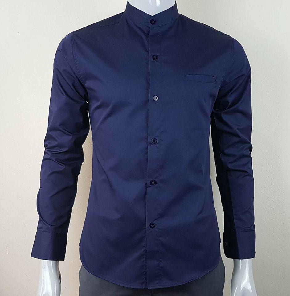 เสื้อเชิ้ตคอจีน สีกรมท่า
