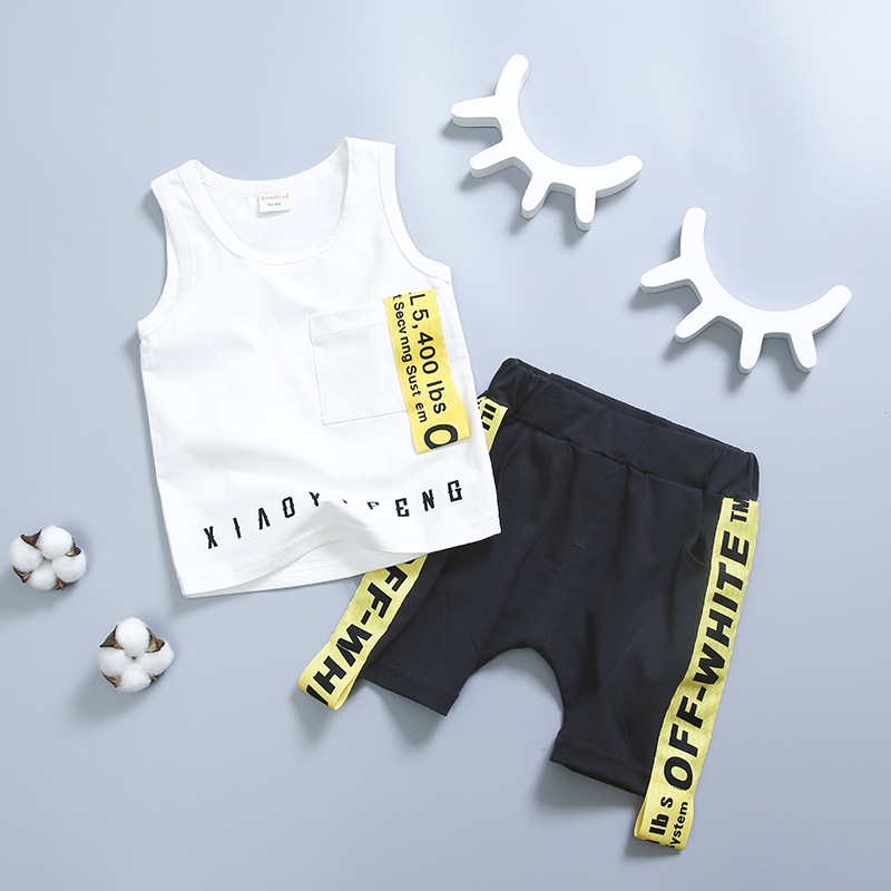 ชุดเซตเสื้อกล้ามสีขาว+กางเกงสีดำ แพ็ค 4 ชุด [size 6m-1y-2y-3y]