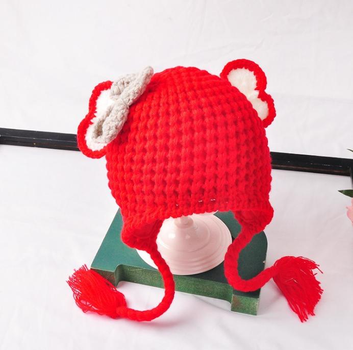 หมวก สีแดง แพ็ค 5ใบ ไซส์ 1-3 ปี รอบศรีษะ17 * 20 ซม