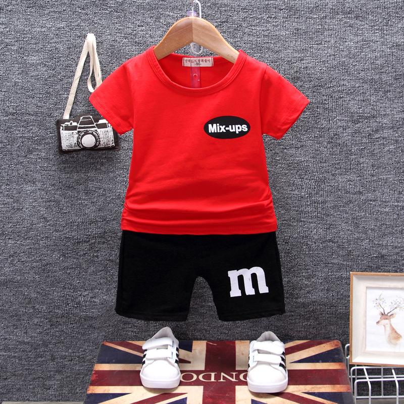 ชุดเซตเสื้อสีแดงสกรีน mix-ups + กางเกงสีดำ แพ็ค 4 ชุด [size 6m-1y-2y-3y]