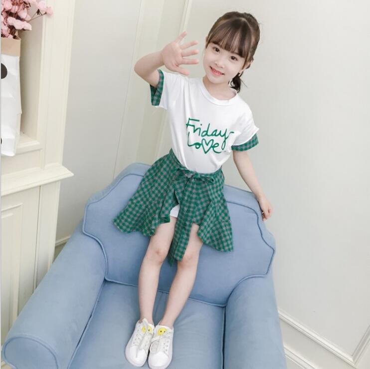 เสื้อ+กระโปรง สีเขียว แพ็ค 4 ชุด ไซส์ 110-120-130-140 (เลือกไซส์ได้)