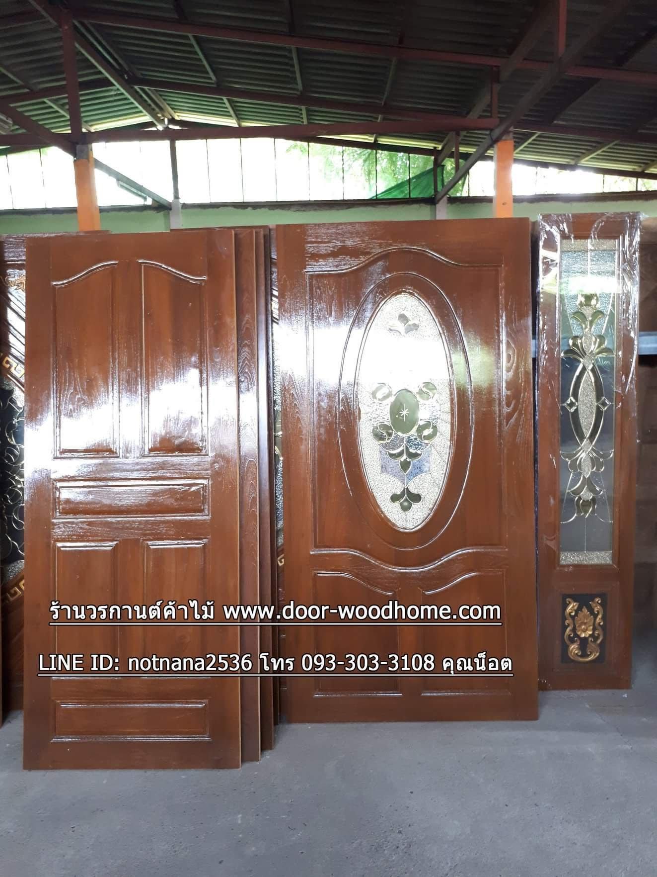 ประตูไม้สักกระจกนิรภัยวงรี เกรดA รหัส A150