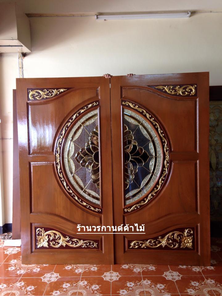 ประตูไม้สักกระจกนิรภัย เกรดA รหัส A58