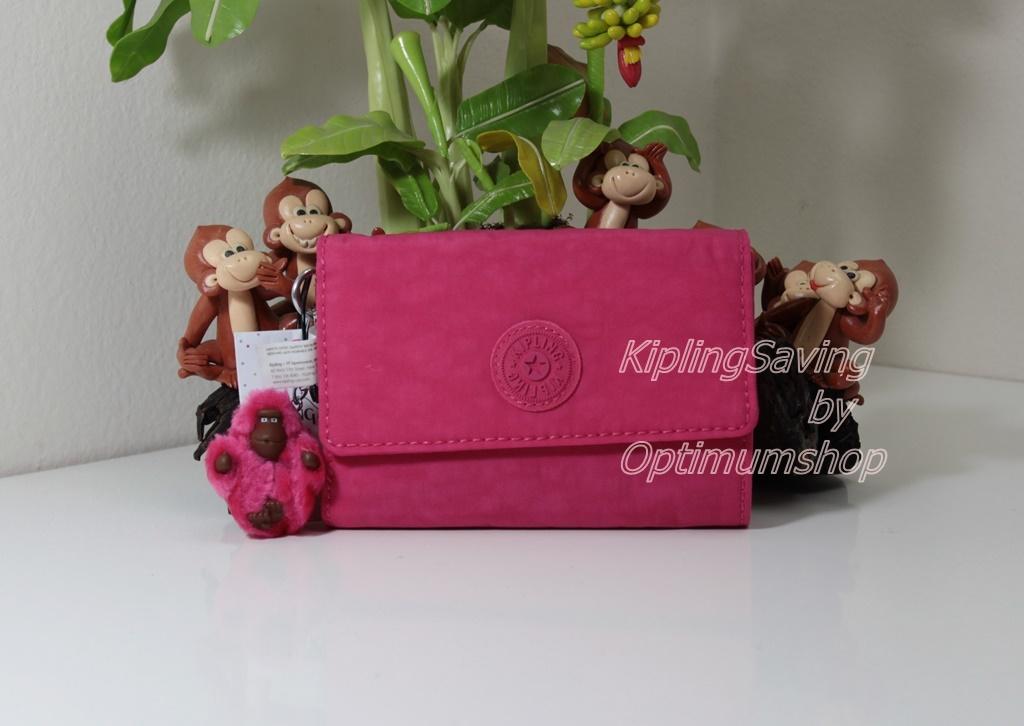 Kipling Pixi Vibrant Pink กระเป๋าสตางค์ใบกลางแบบพับ มีพวงกุญแจ ขนาด 5.75 x 4.25 x 1.25 นิ้ว
