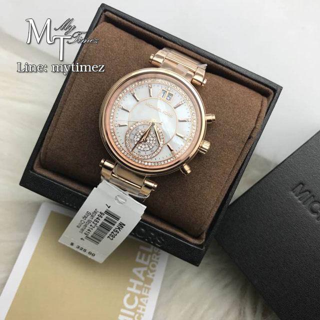 นาฬิกาข้อมือ MICHAEL KORS รุ่น Sawyer Mother of Pearl Crystal Pave Dial Rose Gold-Tone Ladies Watch MK6282