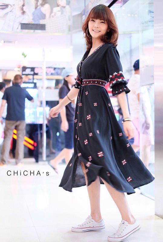 เดรส Boho Embroidery Maxi Dress