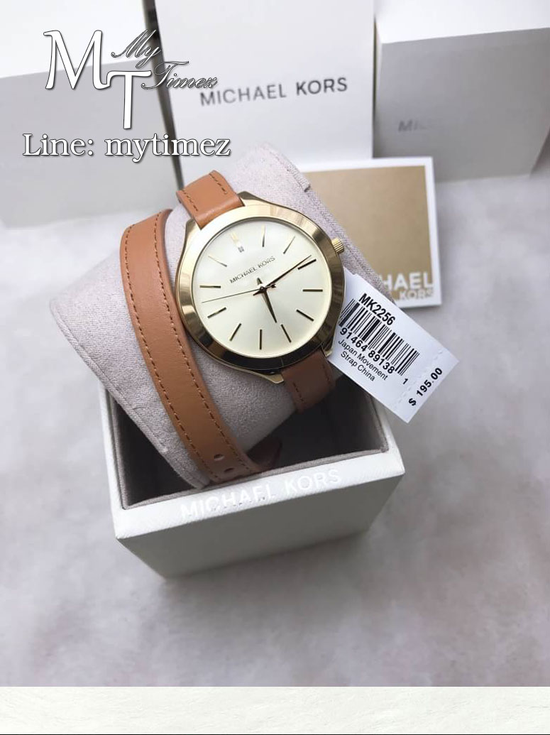 นาฬิกาข้อมือ MICHAEL KORS รุ่น Runway Champagne Dial Tan Leather Ladies Watch MK2256