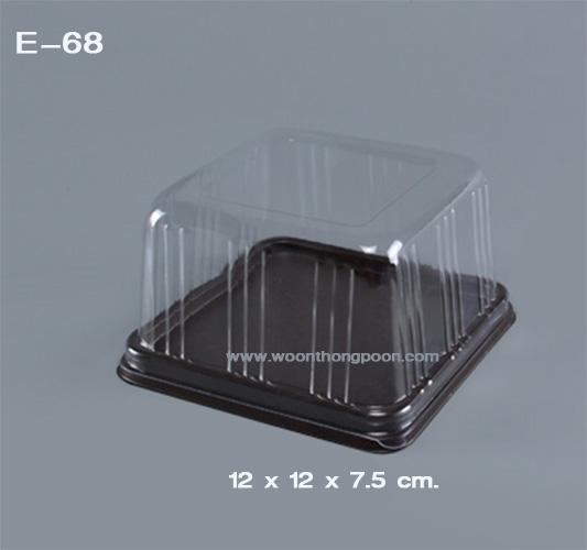 กล่องเค้ก ฐานน้ำตาล เบบี้เค้กทรงสี่เหลี่ยมจตุรัส E68
