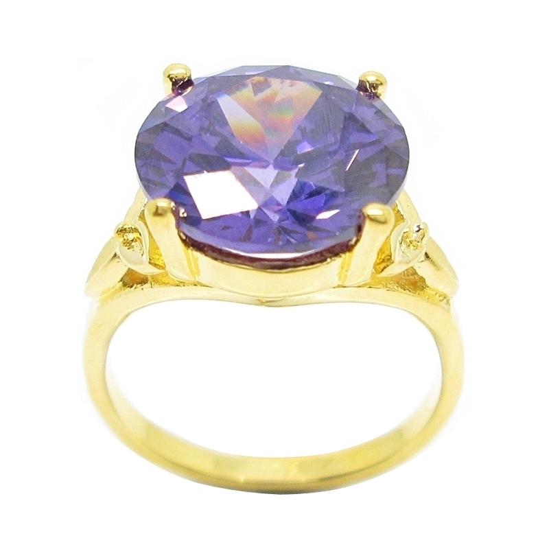 แหวนประดับพลอยกลมอเมทิสชุบทอง